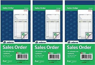 Adams 销售订单书,3 部分,无碳,白色/淡黄色/粉色,3-11/32 x 7-3/16 英寸,每本 50 套(TC3705),3 包
