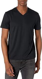 Perry Ellis 男式短袖层纹理 Intlck VNCK T 恤,黑色,S 码