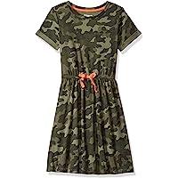 Amazon Essentials 女童短袖松紧腰 T 恤连衣裙