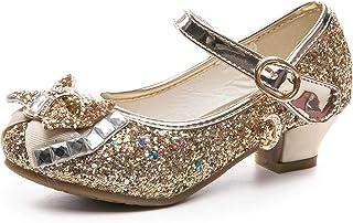 Je-Gou 女童玛丽珍婚礼派对伴娘闪光低跟公主礼服鞋