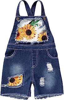 幼儿女婴向日葵印花工装短裤带口袋背带裤连身衣夏季套装