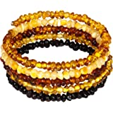 AMBERAGE 成人天然波罗的海琥珀手链 - 由抛光/认证波罗的波罗的海琥珀珠(多个)