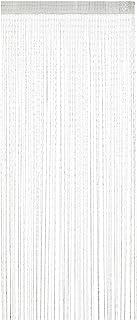 Relaxdays 纱帘,闪光,90 x 245 厘米,可缩短,拉绳,适用于门和窗户,可水洗,纱线,白色