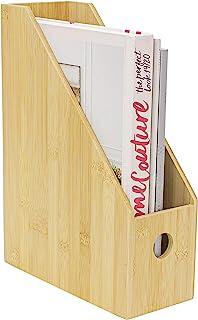 FAMIKITO 竹制杂志夹 立式文件夹桌面收纳盒 适用于家庭和办公室