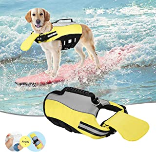 小型狗狗救生衣,适合游泳,可充气狗狗背心,带救援手柄和卓越的浮力狗狗救生背心,适合小型中大型犬宠物救生衣