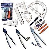 Mr. Pen- 15 件指南针套装带摆臂助推杆(15.24 厘米),学生几何套件,学校、分隔线、规则器、助推器、指南针…