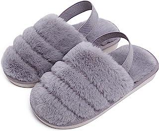 儿童蓬松毛绒拖鞋露趾家居拖鞋男孩女孩人造皮草拖鞋带绑带儿童懒人鞋