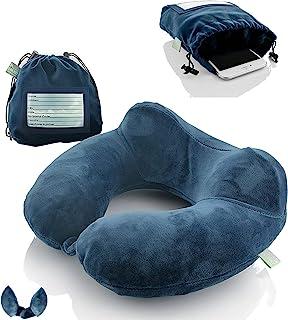 充气旅行颈枕:超柔软坐垫,适用于飞机、火车、汽车、便携式旅行配件 - 带手机和护照等携带袋(蓝色 2 件装)