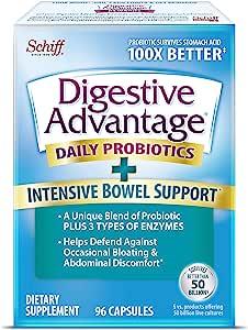 Schiff 旭福 Digestive Advantage Intensive Bowel Support 胶囊,具有很好的吸收效果(一盒96粒)-帮助抵抗偶尔的出现的生气,腹部不适等问题,支持吸收和机体抵抗能力