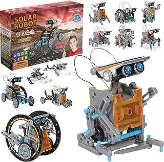 WISHKY TOYS STEM 12 合 1 儿童太阳能机器人玩具搭建套装,190 件,适合 8-12 岁男孩,年轻工程师的科学实验套件,*佳科学教育礼品,适合8 岁以上男孩女孩