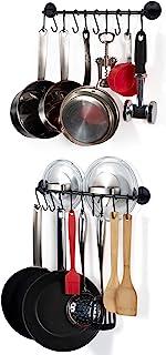 Wallniture 厨房厨具收纳杆带挂钩,黑色 40.64 cm 一套 2 个
