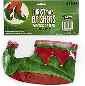 KINREX 圣诞节精灵鞋服装 - 儿童及成人毛绒精灵鞋 - *和红色 - 均码