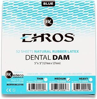 Rubber Dental Dam 12.7cm x 12.7cm 中号蓝色乳胶 52 张天然 EHROS