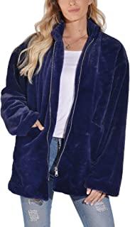 女士人造皮草外套夹克外套长袖带口袋冬季柔软厚实