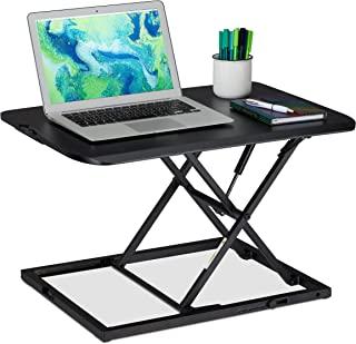 Relaxdays 高度可调节的桌面附件,符合人体工程学的坐立桌,宽x深:63.5 x 46 厘米,黑色