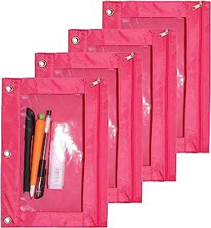 SdeFe 活页夹织物铅笔袋 3 环活页夹铅笔袋带拉链 4 件装(玫瑰红)
