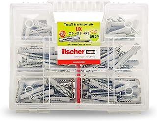 Fischer UX 套件,80 个穿孔圆头带螺丝用于安装于墙体完整、砖板、石板、544257