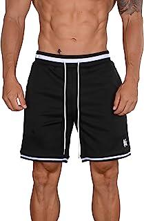 YoungLA 男式篮球短裤 | 健身运动训练健身房 | 网眼带拉链口袋 130