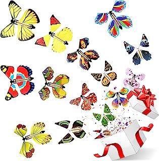 LEAMEERY 发条蝴蝶玩具,假礼品盒和恶作剧盒的魔法乐队蝴蝶,有趣的袜子填料创意礼品卡盒圣诞节生日儿童母亲节父亲节礼物