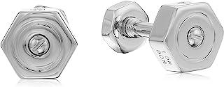 Tateossian Rhodium 平纹银色螺母和螺栓哑铃展示全息标志袖扣