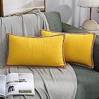 3D 浮雕农舍装饰枕套,2 件装边饰枕套,沙发沙发椅弹性靠垫套,12 x 20 英寸(约 30.5 x 50.8 厘米…