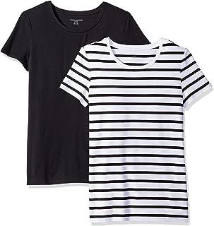 Amazon Essentials 女式 2 件装经典款短袖圆领 T 恤