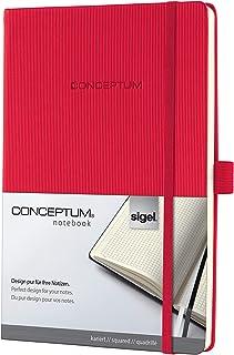SIGEL CO654 笔记本,大约A5,方形,硬皮,弹性紧固件,红色 - 概念
