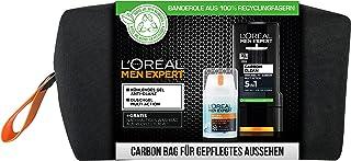 L'Oréal 欧莱雅 Men Expert 男士礼品套装 含碳 5 合 1 沐浴露和 Hydra Energy 凉爽保湿霜 包括洗漱包 1 × 350 毫升