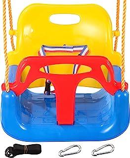 3 合 1 儿童秋千座椅,带 2 个悬挂带 2 个挂钩婴儿和青少年全斗式秋千户外游乐场