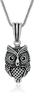chimoda 男士项链 925 纯银项链 24 英寸银链长度,男士珠宝项链,猫头鹰主题吊坠