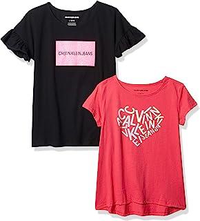 Calvin Klein 女童短袖图案徽标 T 恤2 件装