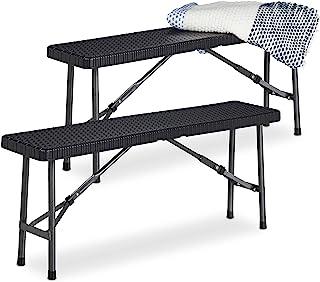 Relaxdays 啤酒长凳 2 件套 可折叠派对长凳 适用于露台和花园,塑料,露营长凳 高宽深:42x100x25 厘米,黑色