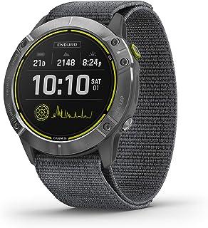 Garmin 佳明 Enduro,Ultraperformance Multisport GPS 手表,太阳能充电,电池寿命长达 80 小时,在GPS 模式下,钢质带灰色 UltraFit 尼龙表带