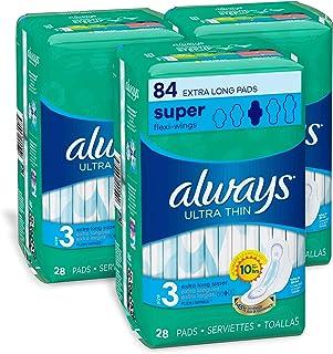 Always 超薄女性卫生巾,3 号,超长,*吸收,有翅膀,无香味,28 片装,3 件装(包装可能不同)