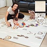 XdeModa 双面婴儿游戏垫和运动垫 - 有趣时尚的泡沫地板游戏垫,适合成人、儿童和婴儿。优雅的房间装饰可转换成大型有…