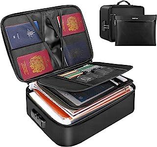 ENGPOW 文件整理袋,防火文件袋带钱袋,家庭办公室旅行*袋带锁,多层便携式归档存储重要文件护照证书 法律文件