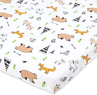 摇篮床床笠与 Mika Micky Bedside Sleeper 兼容 – 舒适柔软的针织棉 – 完美适合 48.24 x 81.48 厘米床边*床垫垫 – 林地