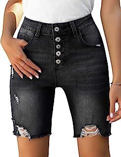 GRAPENT 女式夏季破洞高腰牛仔百慕大短裤仿旧弹力牛仔裤
