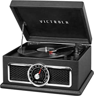 Victrola 4 合 1 怀旧广场蓝牙唱片播放器,3 速转盘和 FM 收音机,黑色