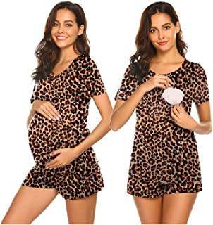 Ekouaer 劳动/分娩/哺乳孕妇睡衣套装,适用于*家庭,基本护理衬衫,可调节尺码孕妇短裤