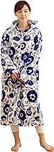 Niceday mofua 可穿著式毛毯 高級超細纖維 保暖居家服 帶兜帽 花紋藏青色 Mサイズ 484764S5