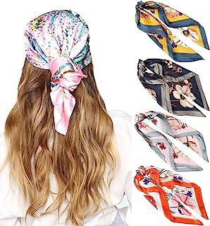 27 英寸(约 68.9 厘米)丝绸触感方形头巾 - 4 件缎面头巾 适合女士头巾 头巾 睡巾 颈巾 (花卉(白色+黄色+黑色+粉色))