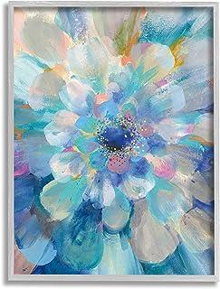 Stupell Industries 抽象分层花卉花瓣中心蓝花,由 Danhui NAI 设计的灰色框架墙艺术,24 x 30