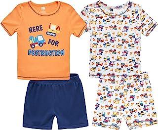 Only Boys 男童睡衣套装 - 4 件套短袖 T 恤和短裤睡衣套装(婴幼儿)