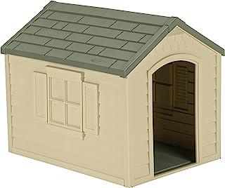 Suncast 户外狗屋 带门 – 防水且有吸引力,适合小型到大型犬 – 易于组装 – 非常适合后院