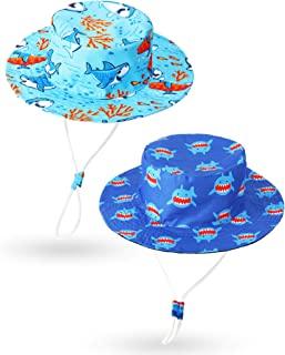 Chuarry 2 件套儿童渔夫帽鲨鱼游泳沙滩泳池帽海洋可调节儿童宽帽檐夏季帽鱼透气旅行沙滩桶太阳帽适合 3-8 岁儿童男孩女孩户外