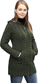 Aran Crafts 女式爱尔兰绞花针织连帽拉链外套(* 美利奴羊毛)