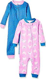Amazon Essentials 女童幼儿和幼儿 2 件装棉质前拉链无脚睡衣