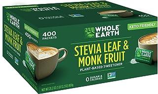 Whole Earth Sweetener Company 甜葉菊和羅漢果甜味劑,赤蘚糖醇甜味劑,糖替代品,零卡路里甜味劑,甜菊糖400小包