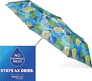 totes 自动开合 NeverWet 紧凑雨伞 43 英寸弧形,热带叶子